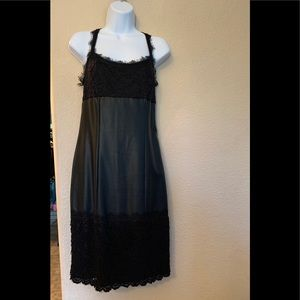 Sexy fitted black pleather lace dress worn once